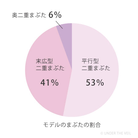 モデルのまぶたの割合円グラフ